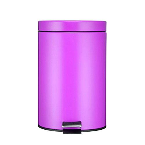 Shop-3 Küchen-Abfalleimer- 12L Edelstahl Fußpedal Mülleimer Runde Mülleimer Hause Wohnzimmer Küche Badezimmer Große Kreative (Color : Purple) (Schritt Mülleimer Groß Küche)