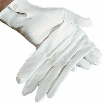 Handschuhe Damen, weiß mit Biesen, Baumwolle