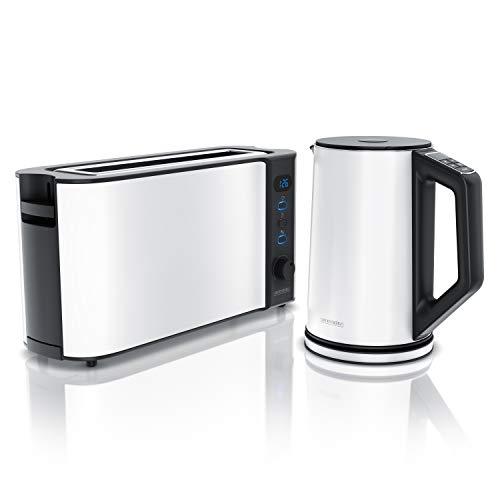 Arendo - Edelstahl Wasserkocher mit Temperaturstufen 1,5L und Langschlitz Toaster für 2 Scheiben Toast und Brötchenaufsatz Weiß
