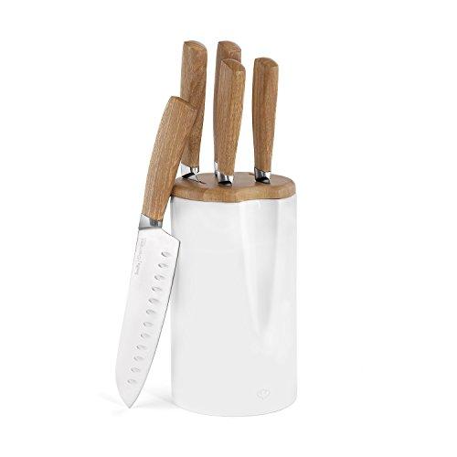 Keramik Messerblock Smilla 6tlg. von Springlane Kitchen Keramik Messer-Block inkl. 5 Küchen-Messern (Kochmesser, Santokumesser, Universalmesser, Gemüsemesser, Brotmesser) Messerset, Robust mit Echtholz-Griffen (Weiße Keramik-küchenmesser)