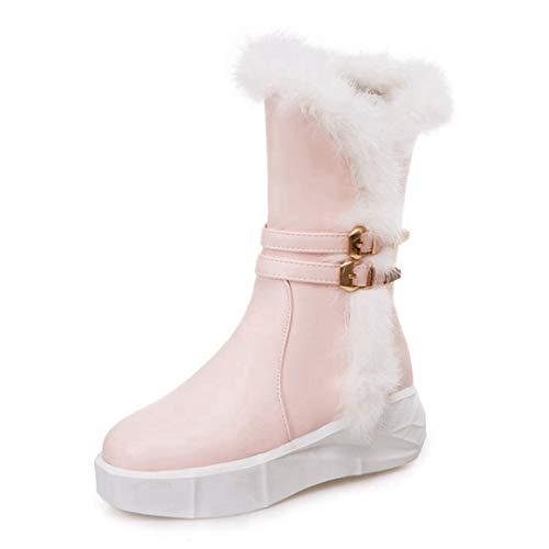 POLLYEDEN Damen süße Warme Schnee Stiefel Schnalle Riemen Runde Zehe Plattform Winter Mittlere Waden Stiefel