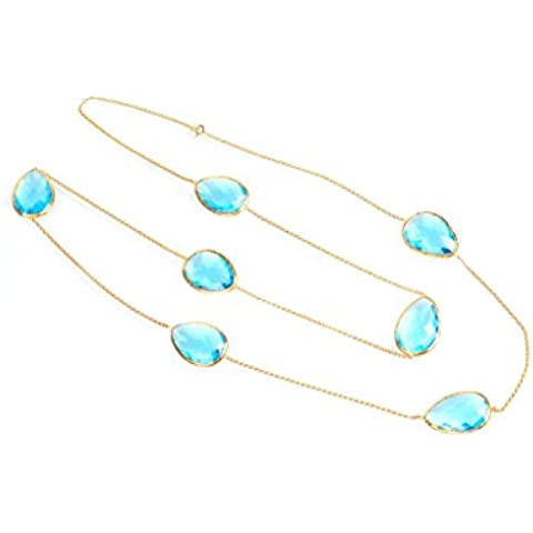 Hydra Collection Gold Long Chain Necklace Blue Topaz Hydro