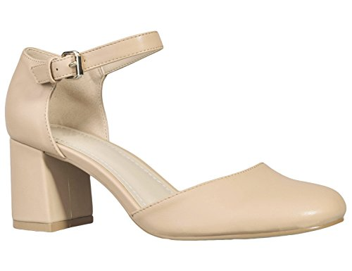 Greatonu, scarpe da ballo da donna, con punta quadrata, modello mary jane, con tacco, rosa (nude), 42