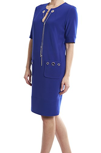 Joseph Ribkoff Sapphire Blue Dress With Grommet/Chain Accents Style 174302 Size 16