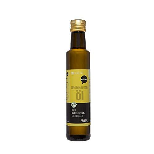 Wohltuer Bio Nachtkerzenöl 250ml - Nativ gepresst und 100% rein - Natur pur (250ml) - Nachtkerzen Samen Öl
