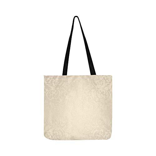 (Beige Floral Elements Canvas Tote Handtasche Schultertasche Crossbody Taschen Geldbörsen für Männer und Frauen Einkaufstasche)