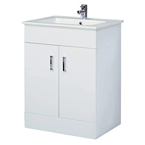 600mm White Bathroom Cloakroom Vanity Unit Basin White