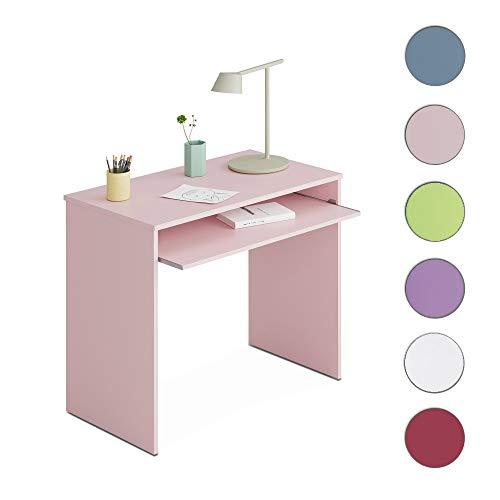 Habitdesign 002314M - Mesa de Ordenador con Bandeja Extraible, Medidas: 90 x 79 x 54 cm de Fondo (Rosa Nube) …