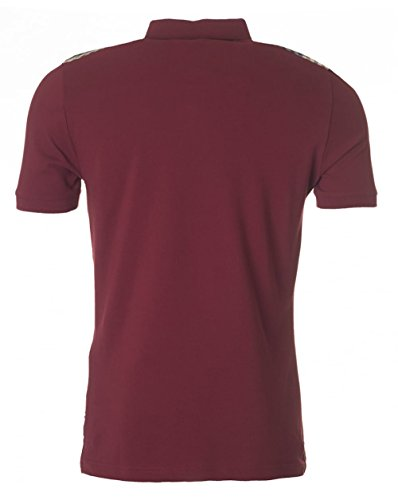 Aquascutum Hill Shoulder Check Pique Polo Oxblood