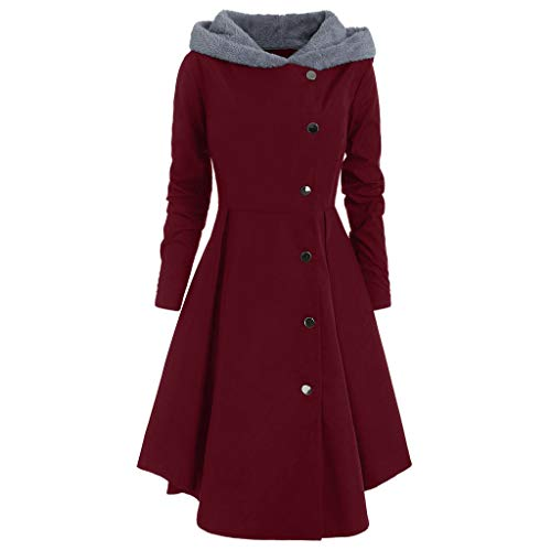 Damen Winterjacke Dasongff Hoodie Lang Coat Fleece Winterbreaker Frauen Asymmetric Solid Kapuzenjacke Parka Baumwollmantel Große Größen Trenchcoat Mantel -