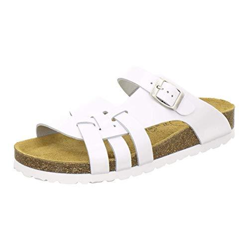 AFS-Schuhe 2122 Damen Pantoletten aus echtem Leder, hochwertige Hausschuhe für Frauen mit Eva-Sohle, Made in Germany Größe 39 EU Weiß (weiß)