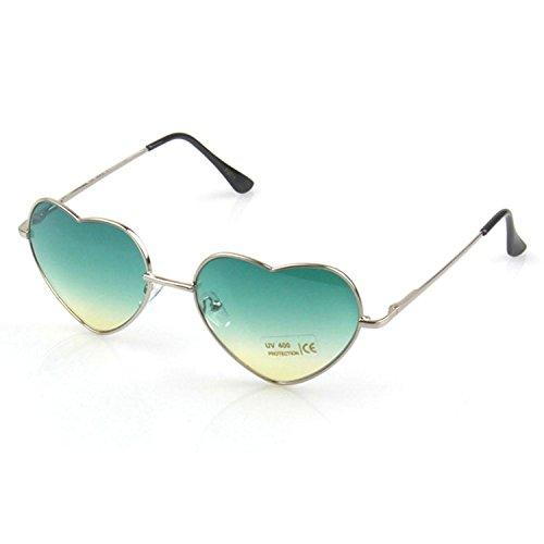 Modische Retro Vintage herzförmige UV400 Sonnenbrillen Farbverlauf Sonnenbrillen für Frauen Damen grün