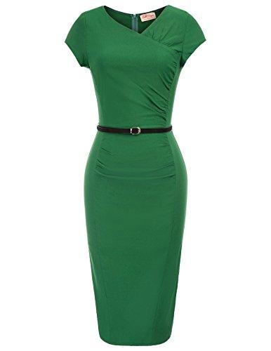 Belle Poque 50er Jahre Kleid Vintage etuikleid Bodycon Kleid Rockabilly Kleid grün M BP735-2