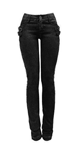 Pantaloni, stile jeans con pizzo sui lati e cinghie Punk Rave nero 3XL