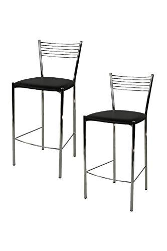 Tommychairs - Set de 2 taburetes de Design Elegance para Cocina y Bar, con Estructura en Acero Cromado y Asiento tapizado en Polipiel Color Negro