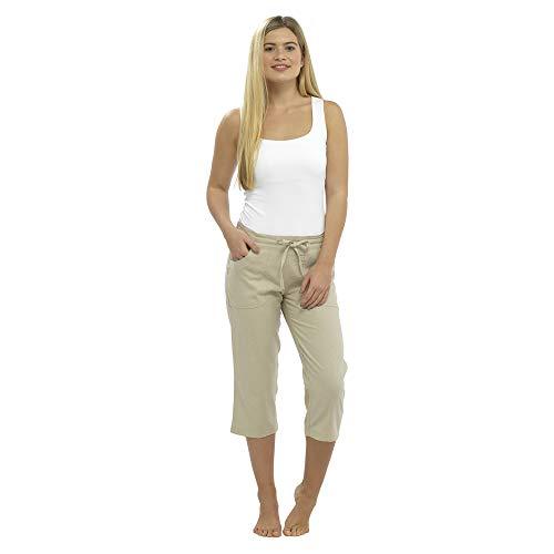 Damen Leinen Freizeithosen Urlaub elastische Taille Damen Sommer Hosen Hosen Shorts beschnitten mit Taschen (12, Weiß beschnitten 3/4)