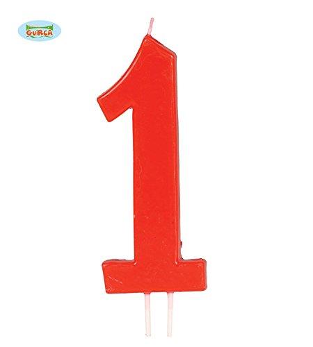 Guirca Rote Kerze Nummer 1 - Deko Geburtstag Kuchen Torte Kerzen Eins ca. 11,5 cm