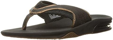Reef Herren Leather Fanning Lux Sandalen, Schwarz (Worn Black), 44 EU