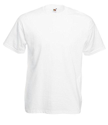 10 Fruit of the loom T Shirts Super Premium Weiss M L XL XXL XXXL Schwere Qualität (XXXL, Weiss)