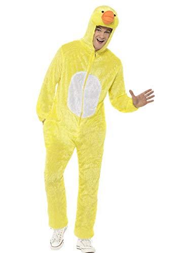 Ente Pet Kostüm - Luxuspiraten - Herren Männer Damen Kostüm Plüsch Ente Küken Duck Chicken Fell Einteiler Onesie Overall Jumpsuit, perfekt für Karneval, Fasching und Fastnacht, M, Gelb