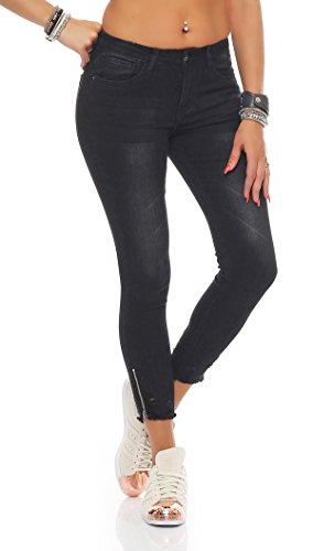 SKUTARI - Femme Jean Pantalons Stretch Noir 1
