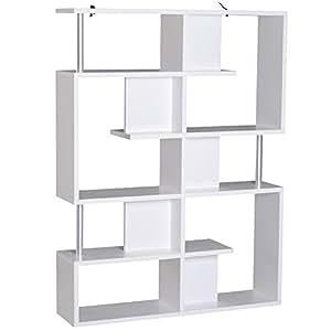 HOMCOM Wood Bookcase 5 Tier Shelves S Shape Bookshelf Free Standing Shelving Storage Display Unit Living Room Home Office White