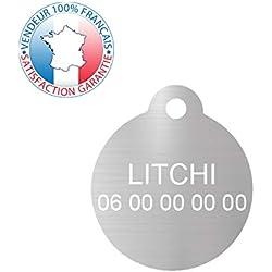 GRAVURE CONCEPT Médaille pour Chien et Chat | Médaille gravée Personnalisable | 1 à 2 Lignes (Argent, Rond)