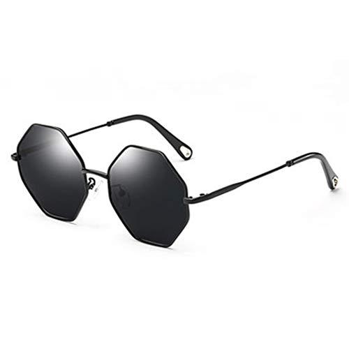 YONGYONG-Sunglasses Sonnenbrille Achteckige Polygon Mode Vielseitig Sonnenbrillen Weibliche Strand Anti-UV-Sonnenbrille Gezeiten Bunte Rosa Linse (Farbe : Schwarz)