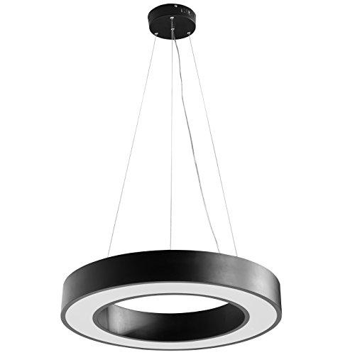 FineBuy LED-Deckenleuchte ROUND rund Metall schwarz EEK A+ Büro-Deckenlampe 48 Watt Ø 60 cm | Design Arbeitsplatz Hängelampe 4080 Lumen kaltweiß ohne Schirm | Office Pendellampe IP20