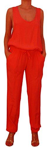 8736 Damen Overall, Jumpsuit, Einteiler, one size, 100% Viskose, gruen, rot, hellbraun, hellblau, made in Italy. Rot