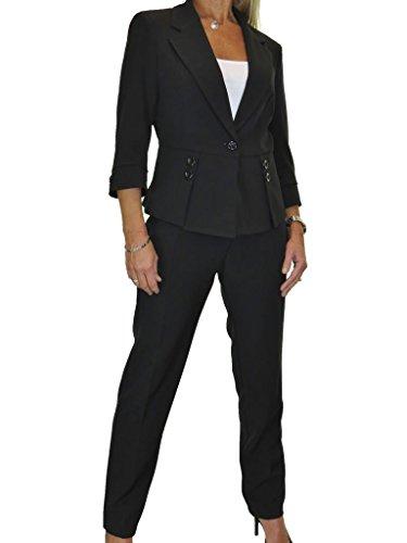 ICE Damen Anzug mit Hose - für Büro oder Geschäft - waschbar Schwarz 36-48 (40) (Hosen-anzug Maßgeschneiderte)