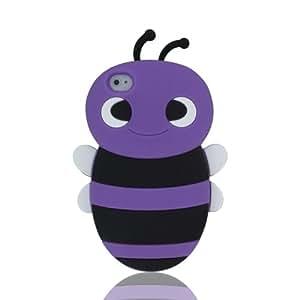 Supera par CellXpressions™Coque en silicone léger en forme d'abeille dessin animé violette pour Apple iPhone 4 4G 4S