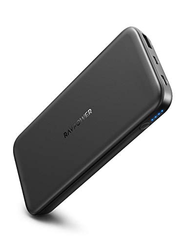 RAVPower Powerbank 10000mAh USB C PD 18W Quick Charge Input & Output Externe Akku für iPhone 11/11 Pro Max/X/XS Max/XR, Galaxy S9 / S8, iPad,Huawei Mate 10, P30 und andere Smartphone Tablet