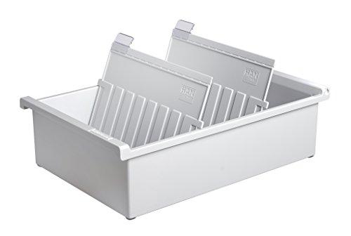 HAN 955-0-11, Karteitrog A5 quer, Innovatives, attraktives Design für 1.300 Karten, inklusive 2 Stützplatten mit Sichtreitern, lichtgrau