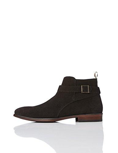 FIND Stiefel Herren aus Rauleder mit Schnalle, Reißverschluss und Blockabsatz, Schwarz (Black), 43 ()
