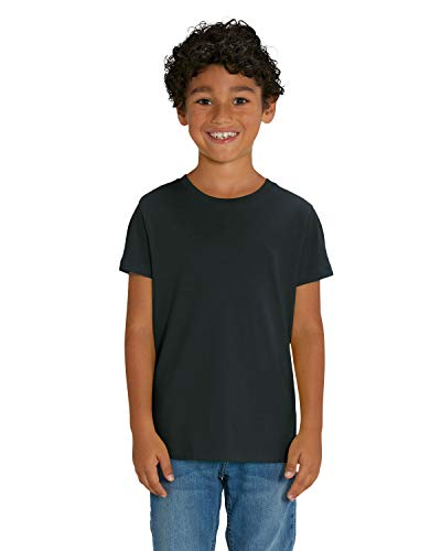 Hochwertiges unisex T-Shirt für Kinder aus 100% Bio-Baumwolle, T-Shirt/Grösse:122/128, T-Shirt/Farbe:Schwarz - 100% Baumwolle Schwarz T-shirt