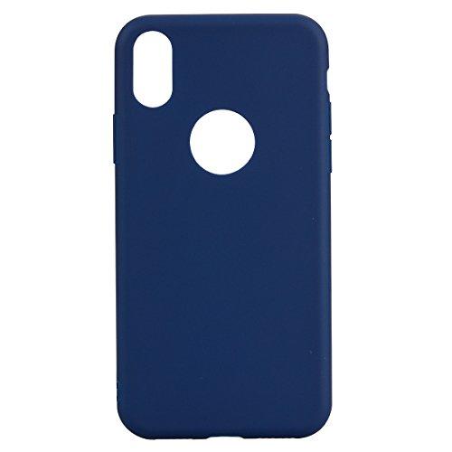 Coque iPhone 8 , TPU couleur unie Case Silicone Slim Souple Étui de Protection Flexible Soft Cover Anti Choc Ultra Mince Integrale Couverture Bumper Caoutchouc Gel Anfire Housse pour iPhone 8 - Rose Bleu