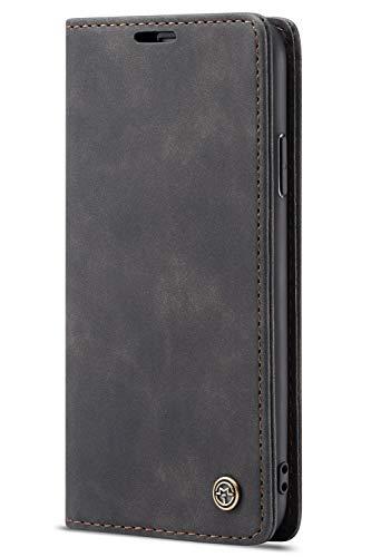 Handyhülle Case Compatible with iPhone 7 Plus/iPhone 8 Plus, Kusnt Leder Flip Case Handytasche mit Kredit Karten Hülle Geldklammer Unsichtbar Magnet und Stand Funktion Schutzhülle,Schwarz Leder Flip Case