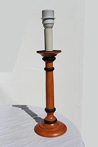 § § piede lampada da tavolo, scrivania, comodino, da tavolo. Design classico in legno massiccio tornito finitura ciliegio, Nero e Avorio