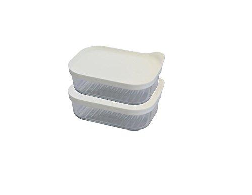 GLASSLOCK (2X MCRB-048F, 2X 480ml Rechteckige Frischhaltedose aus Glas - Freezer Type (Weiß)