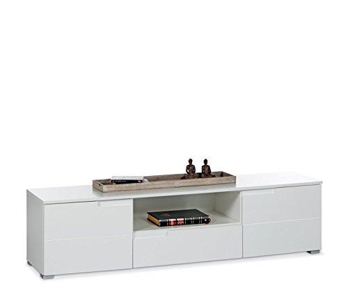 TV-Lowboard Fernsehschrank Fernsehtisch SABIA 5 | Weiß Hochglanz | 165x42x40 cm (Rechteckige Tv-fach)