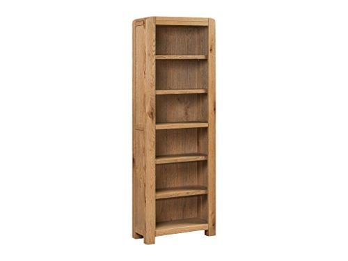 The One Caprice Eiche massiv hoch Slim Bücherregal–Eiche massiv schmal Bücherregal–Finish: Eiche rustikal–Home Office–Esszimmer–Wohnzimmer Möbel