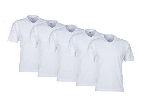 V Neck! 5 weisse Herren T-Shirt T-Shirts 100% Baumwolle Markenware TShirt Shirts T-Shirts für Herren Man Men sehr bequem T-Shirts V Ausschnitt (T-shirt Casual V-neck)