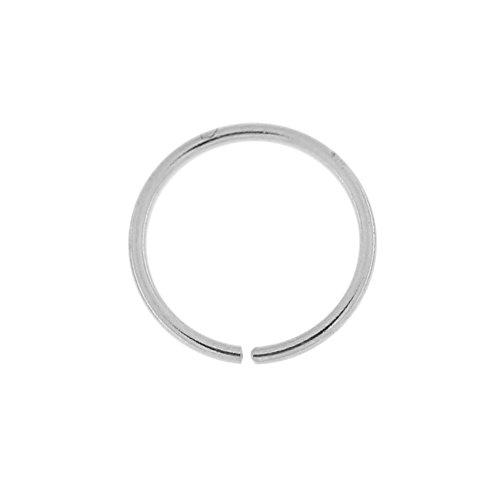 14k oro bianco 20 Gauge - 6MM di diametro cerchio aperto continuo senza cuciture naso anello Piercing da naso