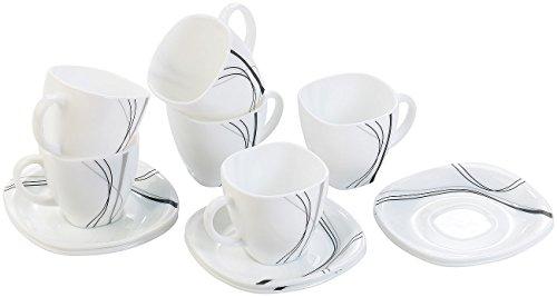 Rosenstein & Söhne Service: Opalglas-Kaffeetassen & Untertassen, Linien (Kaffeegeschirr)