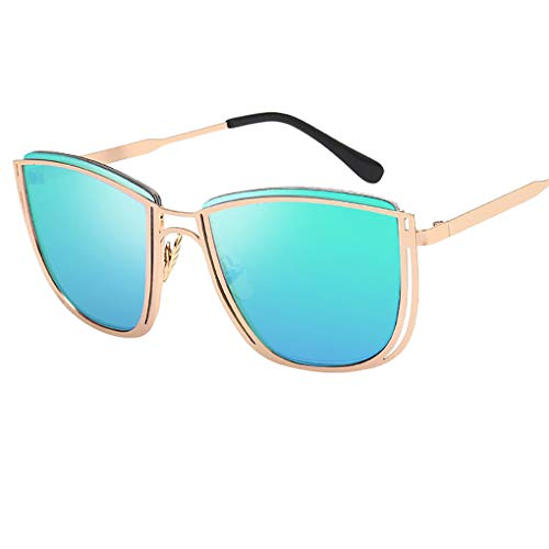Oversized Sonnenbrille Polarisiert/Dorical Damen Mode Über-Groß Designer Sonnenbrillen mit UV-400 Schutz Brille/Frauen Metall Rand Brillen Gespiegelte Linse Retro Sunglasses(Grün)