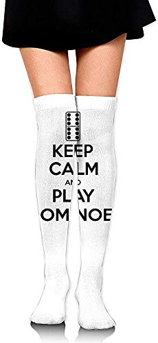 Womens Domino (vbcnfgdntdy Knee High Socks Keep Calm and Play Dominoes Women's Athletic Over Thigh Long Stockings)