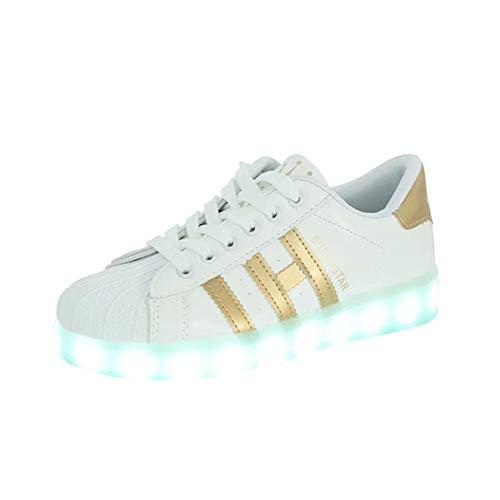 Bruce Lin-UK Damen Jungen Mädchen LED Schuhe Blinkende Leuchtschuhe 7 Farbe USB Aufladen LED Sportschuhe Farbwechsel Light up Low Top Sneaker Turnschuhe - Lin Schuhe