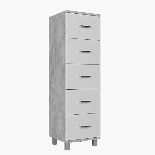 *VICCO Beistellschrank ILIAS Weiß/Beton 95 x 30 cm – Midischrank Badezimmerschrank Badschrank Schrank Regal*