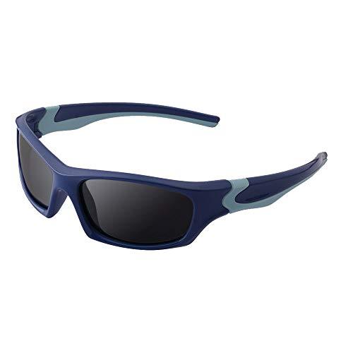 GRAZJ Kindermode Fahren polarisierte Sport-Sonnenbrille ultraleichte Kinder Sonnenbrille Baby Brillen Schutz (Farbe : Blau)